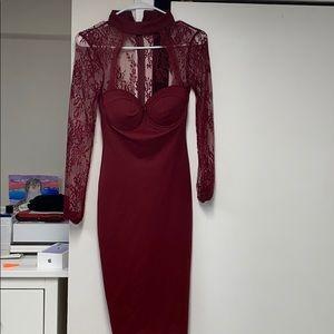 XS Burgundy Long Sleeve Fashion Nova Dress